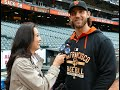 Madison Bumgarner & Bruce Bochy Talk World Series Belt Buckles at San Francisco Giants Game!