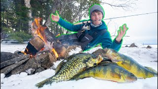 Backwoods CATCH N COOK On a Frozen Lake! (EASY Recipe)