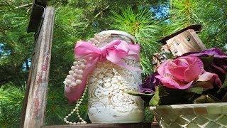DIY Lace print over Glass Mason Jars Glass Vase Glass Bottle