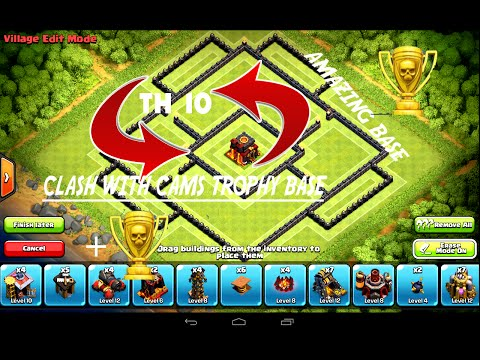clash of clans- EPIC TROPHY BASE CLASH WITH CAMS BASE (speed build)