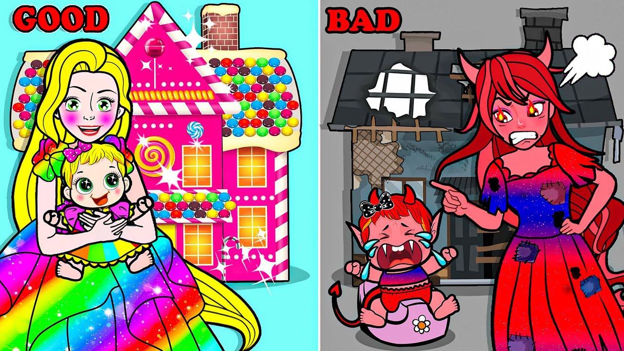Download Paper Dolls Dress Up - Decorate Rapunzel vs Vampire House Angels Dress - Barbie Story & Crafts