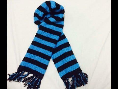 Đan khăn len - Knitting a stripped scarf