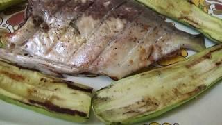 рыба. Гриль. Вкуснейший рецепт - золотая рыбка, креветки и кабачки! Как правильно накрывать стол