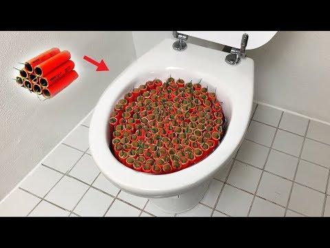 1000 Firecrackers vs Toilet
