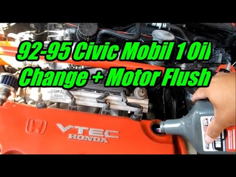 1994 Honda Civic EX 1.6L Mobil 1 Oil Change Tutorial + Motor Flush