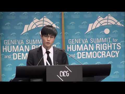 Survivor of North Korean camp Dong hyuk Shin at 2013 Geneva Summit for Human Rights