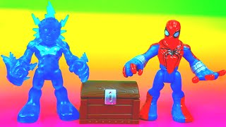 Playskool Electro takes Imaginext treasure and fights The Amazing Spider-man Just4fun290