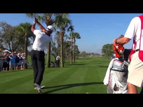 TIGER WOODS - BEAUTIFUL IRON DRAW BALL FLIGHT 4TH HOLE PGA NATIONAL -  REG & SLOW MOTION