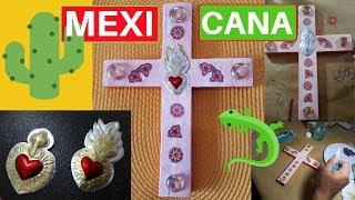 """Decoración de Cruz de Madera Reciclada """"La Mexicana"""" Craquelado y Decoupage"""