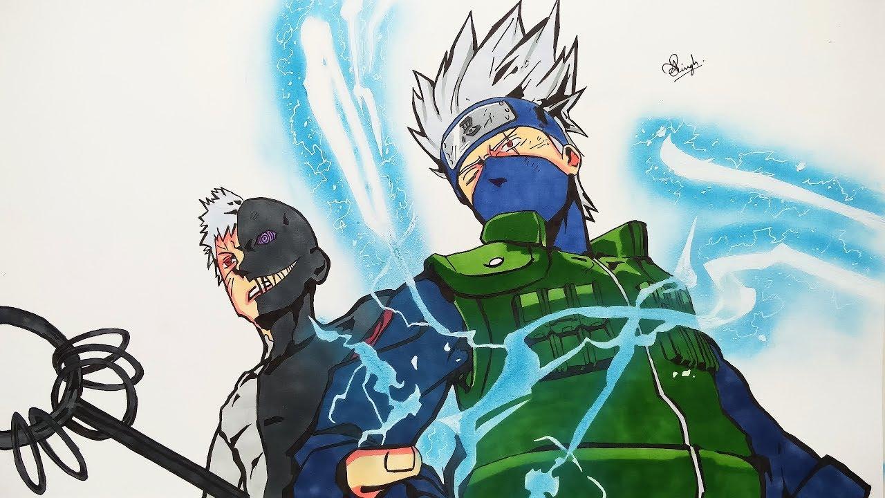 Drawing Kakashi & Obito - Naruto (2K SUBS SPECIAL DRAWING ...
