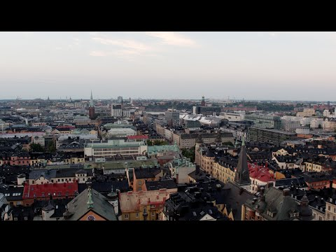 3367. Stockholm City Drone Stock Footage Video