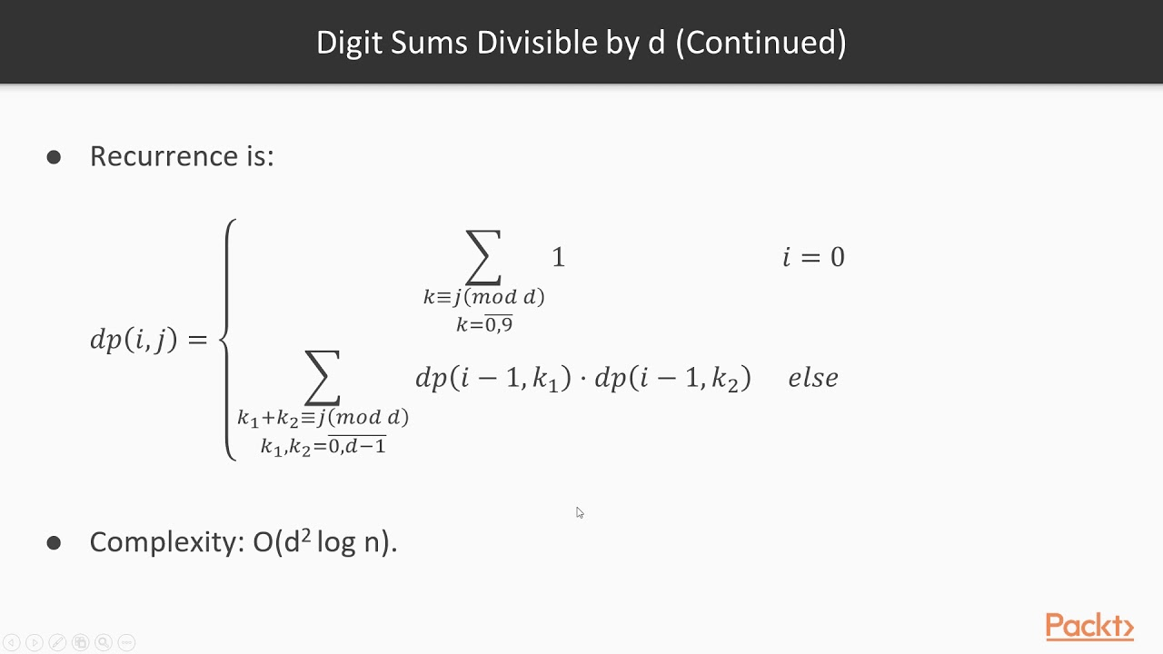 Adv Data Structure & Algorithm in Python:Counting Digit Sums Divisible by d  | packtpub com