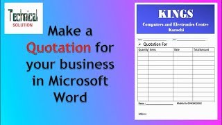 How to make Quotation for your business in MS Word