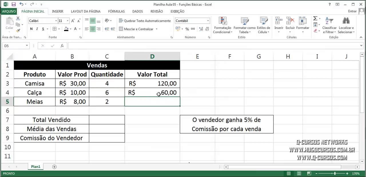 Curso de Fórmulas e Funções no Excel   Aula 20   Exercício Fórmulas