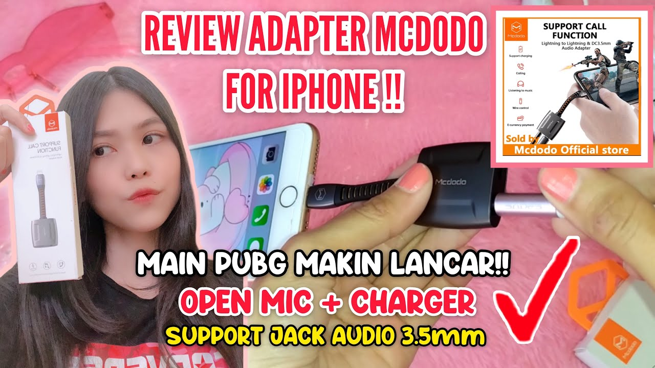 ADAPTER IPHONE TERBAIK 2020 - MCDODO LIGHTNING TO JACK AUDIO 3.5mm | PUBG OPEN VOICE!!