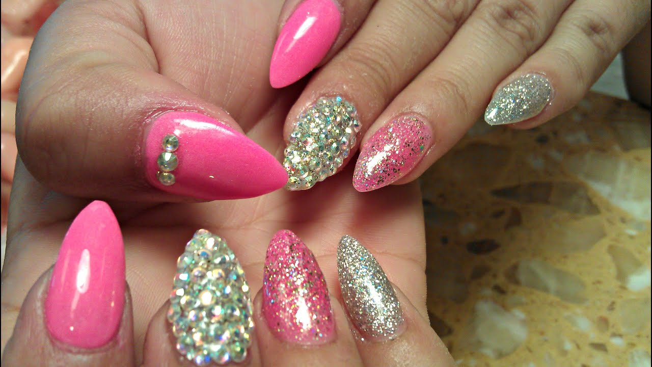 How To Stiletto Acrylic Nails Tutorial Glitter Nail Art Designs
