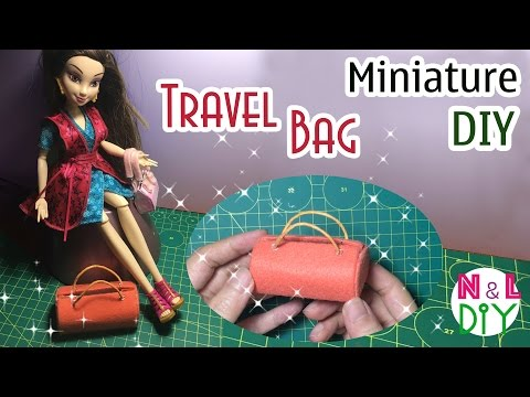 DIY Miniature Travel Bag for Doll   How to make a travel bag for your doll