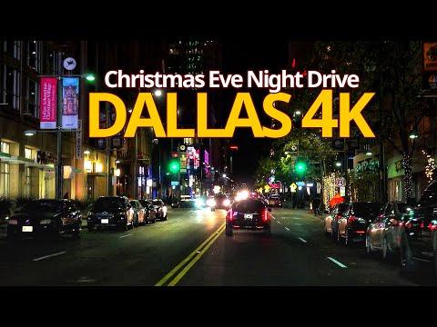 Dallas 4K- Christmas Eve Night Drive - Driving Downtown - Texas, USA