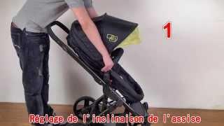 Poussette bébé 4 roues combiné 2 en 1 hamac convertible + siège auto cosy Groupe 0+ Réf.C260