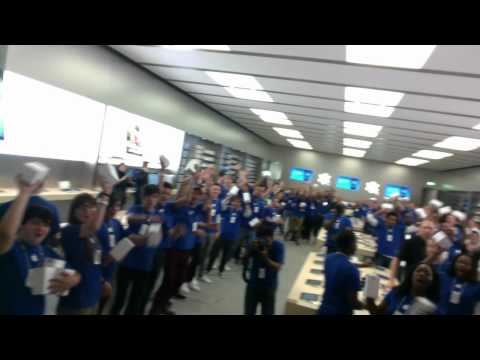 Staff at the Apple store opening in The Glades, Bromley, England.