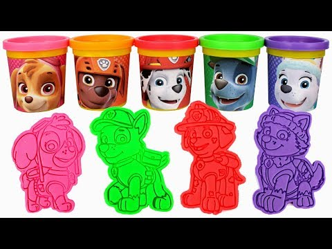 Paw Patrol Play Doh Can Heads & Paw Patrol Play Doh Molds Learn Colors with Chase Skye Ryder Everest