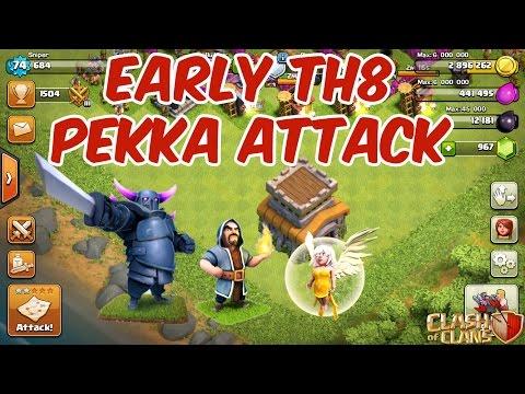 PeWiHe Attack 1 (Pekka, Wizard & Healer) - Early TH8 War Attack Strategy