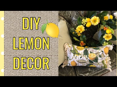 DIY SUMMER WREATH & PILLOW COVER   LEMON DECOR   DECORATING WITH LEMONS