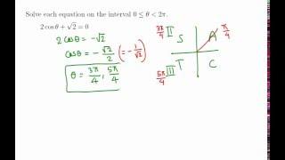 Trigonometry: Solve 2 Cos X + Sqrt 2 = 0