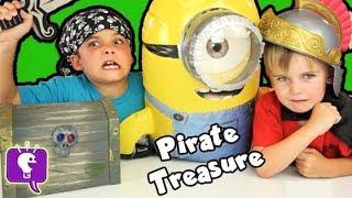 Pirate MINION Treasure Chest! SURPRISE Toys + Blind Bags Adventure HobbyKidsTV
