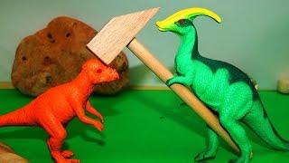 Динозавры. Крепкая голова. Мультик для детей. Игрушки видео