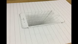 How to draw 3d hole in iphone || pencil sketch || Etc.