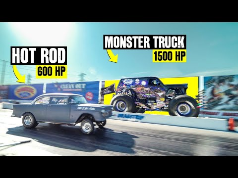 MONSTER TRUCK Vs HOT ROD - 2000 Horsepower Drag Race