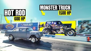 MONSTER TRUCK vs HOT ROD - 2000 Horsepower Drag Race