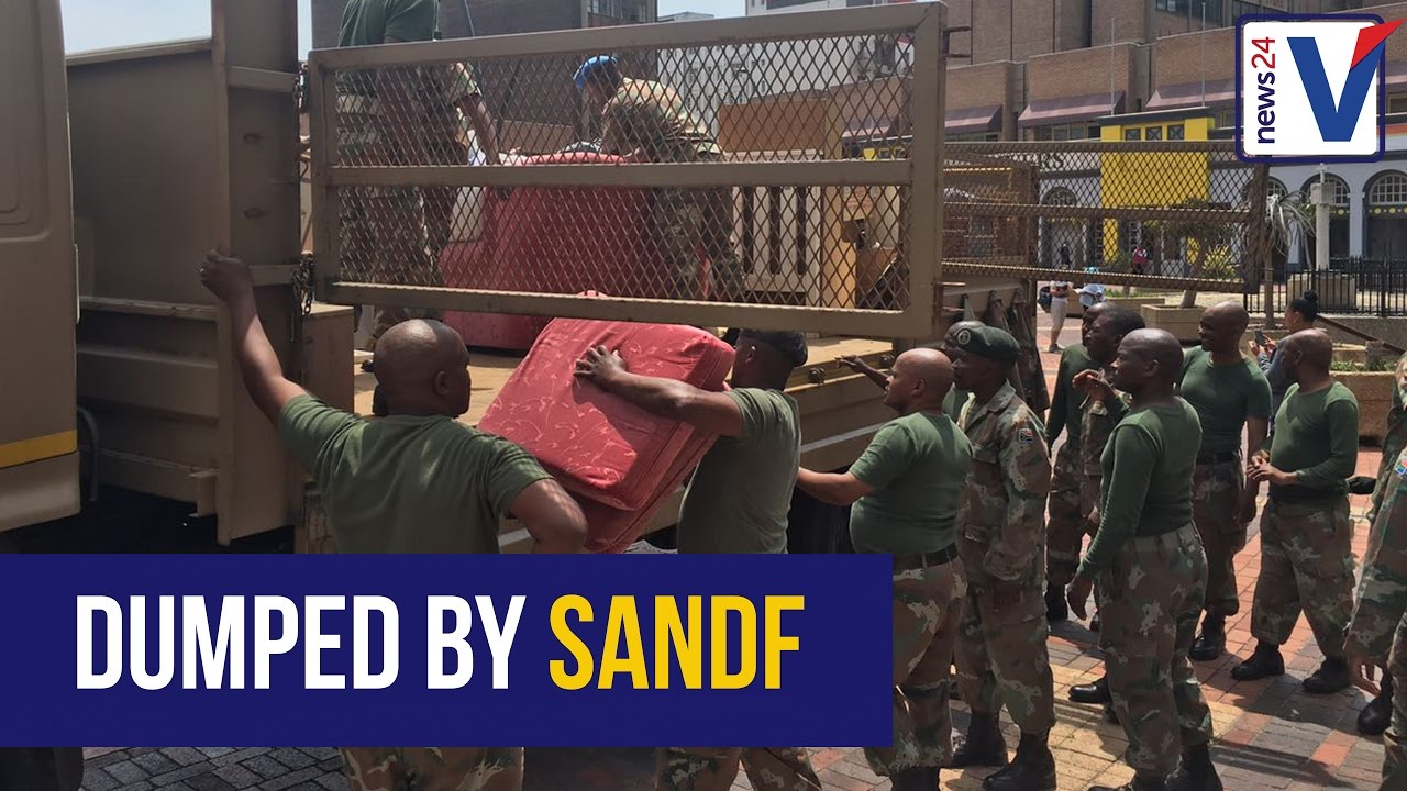 WATCH Soldiers dump furniture outside Port Elizabeth City Hall