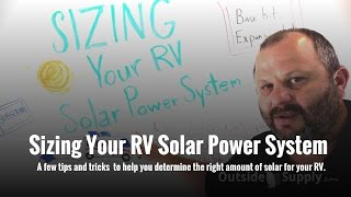 Sizing Your RV Solar Power System
