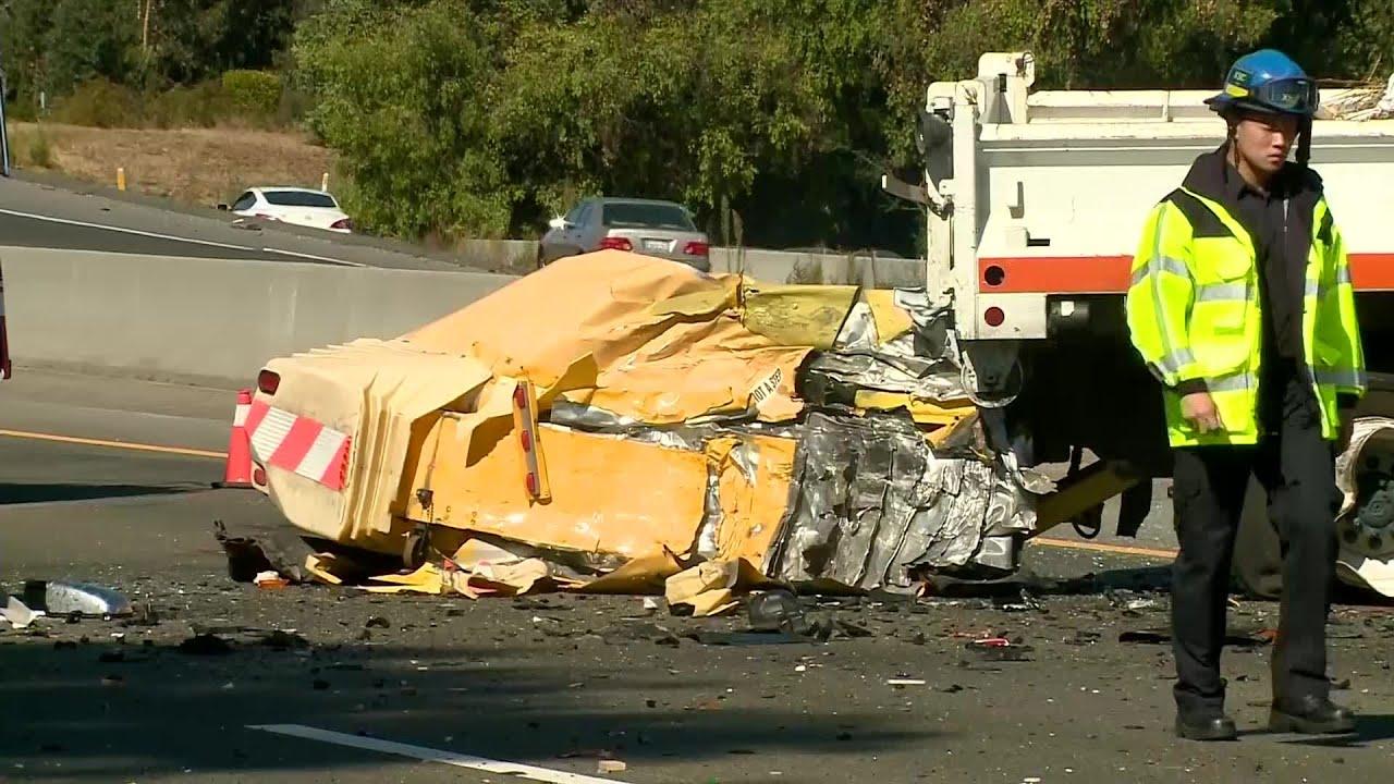 Raw Video: Fatal Crash Involving Caltrans Truck On U S  Highway 101 In San  Jose