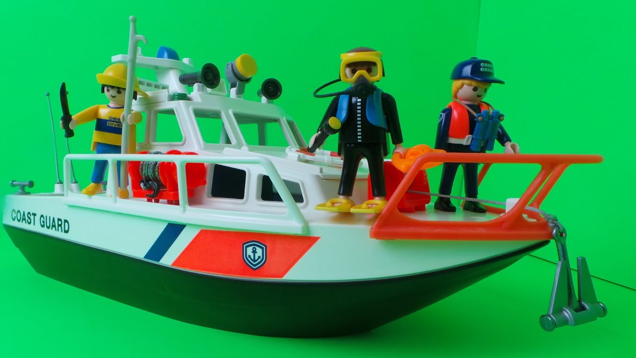 Playmobil Coast Guard Rescue Boat City Action Vintage 1999