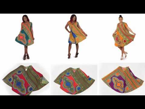 Traditional print poncho dress from Africa Imports