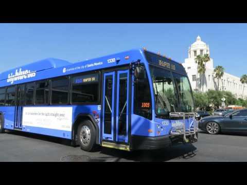 Big Blue Bus: Santa Monica bound Gillig BRT 1330 Rt. R10 at Alameda St/Cesar Chavez Av