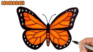 butterfly drawing draw easy monarch tutorial