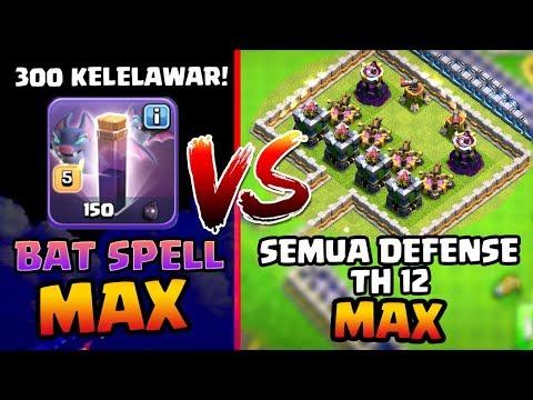300 KELELAWAR!! 🦇 BAT SPELL MAX Vs Semua DEFENSE TH 12 MAX!! - Coc Indonesia