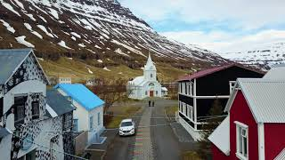 The beautiful town Seydisfjordur in late April, East Iceland.