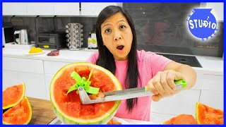 Kitchen Gadgets Put To The Test with Ryan&#39s Mommy! How to Cut Watermelon AS SEEN ON TV!