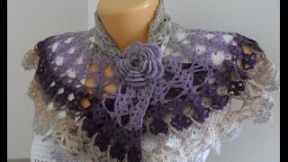 Ажурная накидка из Кауни крючком (mini shawl) (Шаль #12)