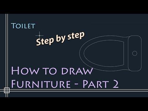 Autocad 2D Basics - Tutorial To Draw Floor Plan Furniture - PART 2 (toilet)