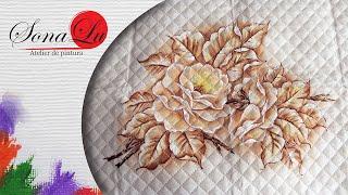 Rosas Monocromáticas em Tecido – Sonalupinturas