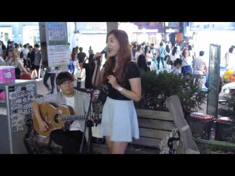 """Let It Go"" in the streets of KOREA (My 1st Busking Experience @ Hongdae)"