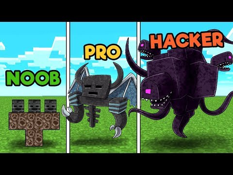 Minecraft - BUILD TO SURVIVE WITHER STORM! (NOOB vs PRO vs HACKER)
