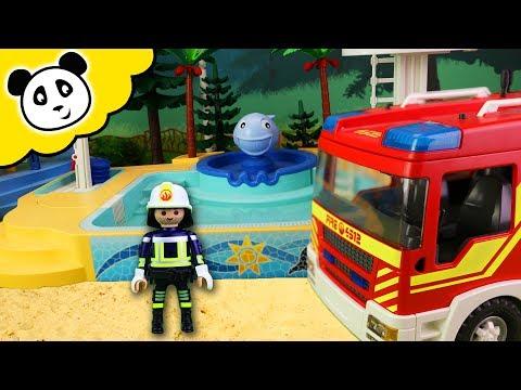 PLAYMOBIL Schwimmbad Film - Das Schwimmbad Brennt! Playmobil Feuerwehr Film
