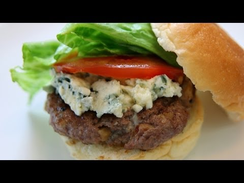 Walnut Blue Cheese Burger Recipe - American Recipe - CookingWithAlia - Episode 326